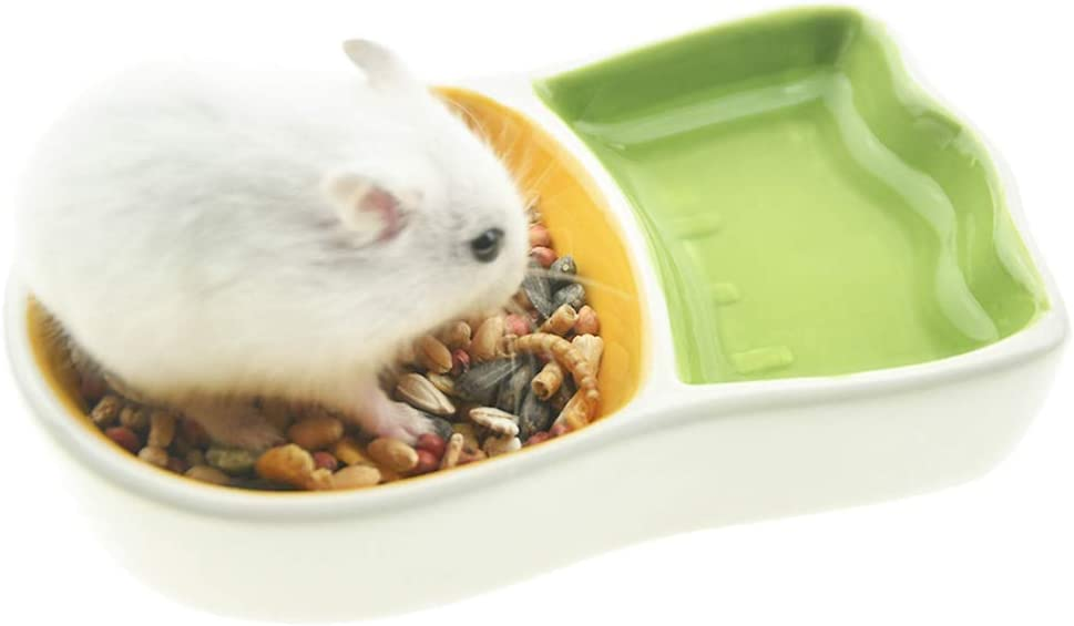 FLAdorepet Hamster Food Bowl, No Turnover Small Animals Ceramic Feeding Water Bowl Dish for Guinea Pig Rat Hedgehog Gerbil Mouse ( Small, Carrot)
