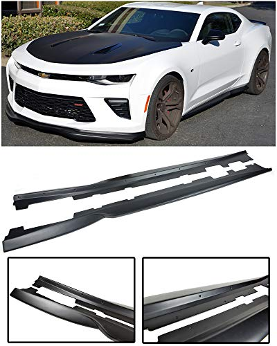 Skirts Side Speed (Replacement for 2016-Present Chevrolet Camaro | EOS T6 Style ABS Plastic Primer Black Add On Bottom Line Side Skirts Rocker Panel Extension Pair)