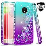 Moto E4 Case (USA Version) (Not Fit E4 Plus) Tempered Glass Screen Protector [2 Pack] Girls,LeYi Glitter Diamond Liquid Protective Phone Case Motorola E (4th Generation) Teal/Purple