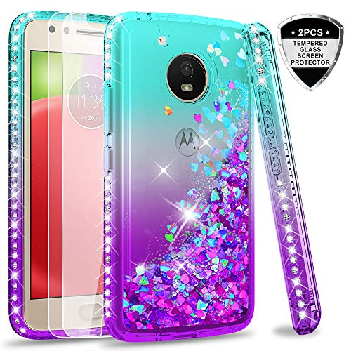 Moto E4 Case (USA Version) (Not Fit E4 Plus) Tempered Glass Screen Protector [2 Pack] Girls,LeYi Glitter Diamond Liquid Protective Phone Case Motorola E (4th Generation) Teal/Purple