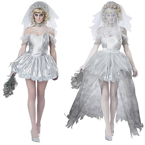 [BeautyXTP Ghost Zombie Bride Halloween Costume Vampire Hen party Cosplay Dress (White)] (Pirate Bride Costume)