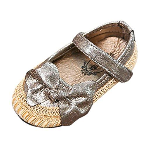 OverDose Baby Mädchen Bogen Kind beiläufige Singel Partei Prinzessin Schuhe Crib Lauflernschuhe Turnschuhe A-Gold