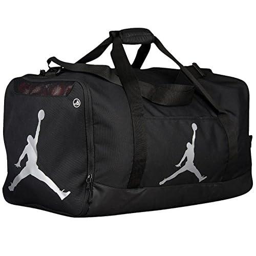 26c009de8d0e2b Nike Air Jordan Jumpman Duffel Sports Gym Bag Black Silver 8A1913-023 Wet