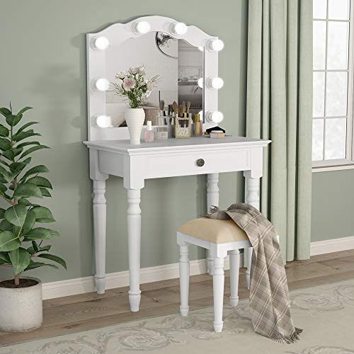 Tribesigns White Vanity Set With Lighted Mirror Makeup