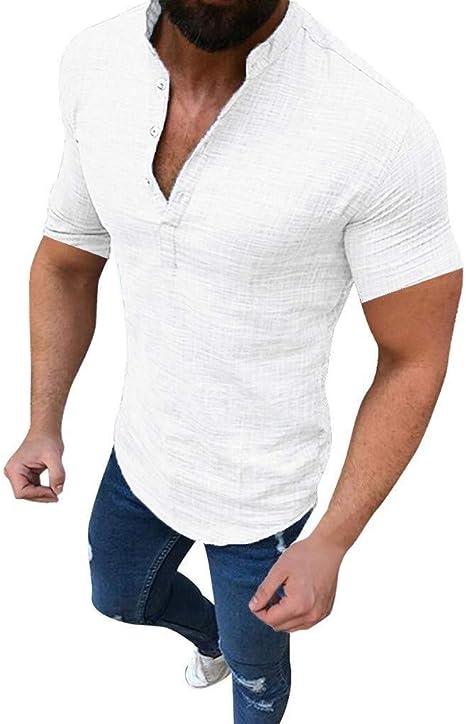 Twisfer Camisa De Hombre para Lino Corta Manga Cuello Mode De Marca Alto Escote En V