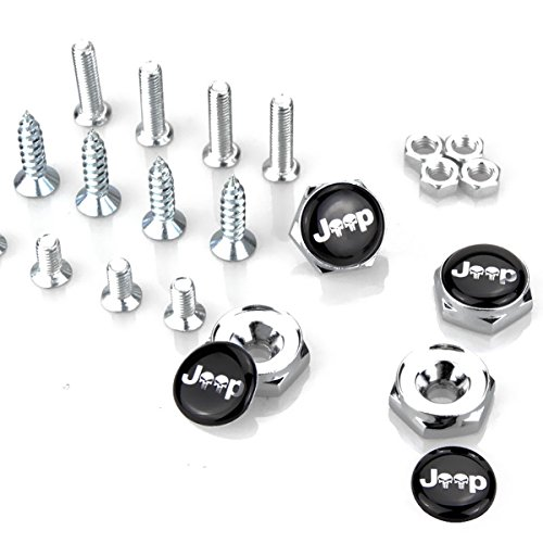 TK-KLZ 4Pcs for Jeep Skull Logo Chrome Metal Sports Style Car License Plate Frame Universal Bolt Screws for Chrysler JEEP Grand Cherokee Wrangler Compass Cherokee Renegade Patriot Grand Comander