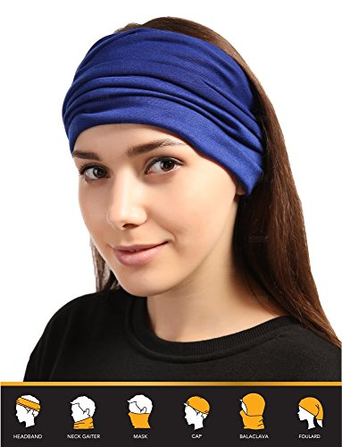 12-in-1 Headband [Solids] - Versatile Lightweight Sports & Casual Headwear - Bandana, Neck Gaiter, Balaclava,