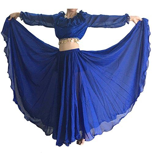 Wuchieal Women's Belly Dance Skirt Tribal Chiffon Full Skirt (Navy Blue)