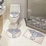 Carl Morris Elephant Mandala bathroom toilet mat set Bohemian Elephant Paisley Vintage Ethnic Design Holy Animal Non-slip Soft Absorbent Bath Rug Pale Pink and Purple