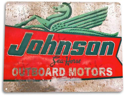 TIN Sign Johnson Outboard Motors Tin Metal Sign Engine Boat Lake House ()