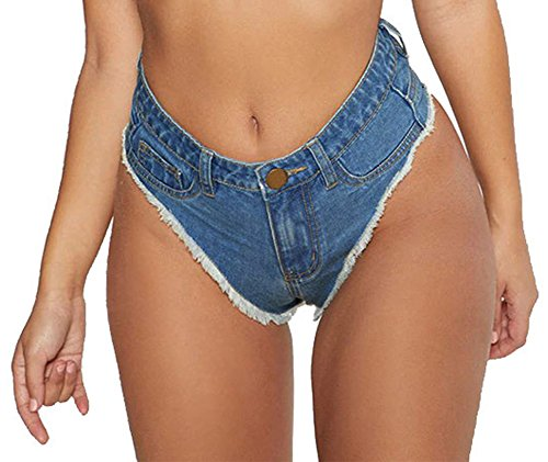 Oflive Women's Sexy Low Rise Mini Denim Shorts Hot Pants Clubwear (L, Dark Blue)