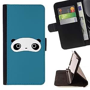 - Cute Panda Face Bear - - Monedero PU titular de la tarjeta de cr????dito de cuero cubierta de la caja de la bolsa FOR Samsung Galaxy S5 Mini, SM-G800 RetroCandy