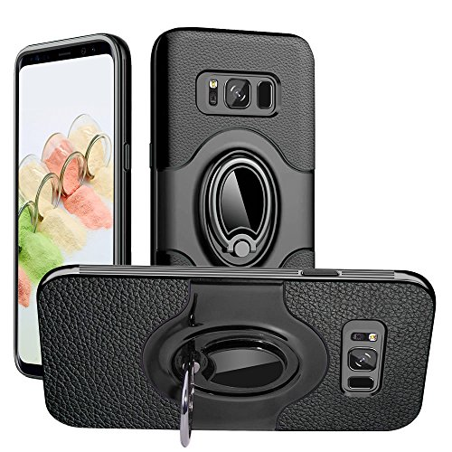 S8 Plus Case, Galaxy S8 Plus Case, Dairnim Dual Layer Shockproof Impact Protection 360 Degree Rotating Ring PC & TPU Support Magnetic Car Mount Holder Case for Samsung Galaxy S8 Plus 6.2, Black