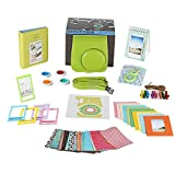 Fujifilm Instax Mini 9 LIME Camera Accessories Bundle, 11 PC Kit Includes: Instax Camera Case + Strap, 2 Album, Color Filters, Selfie lens, Magnets + Hanging + Creative Frames, 60 stickers, Gift Box