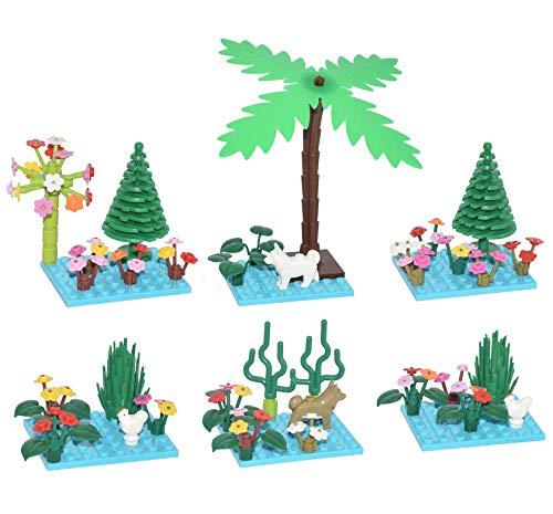 Sawaruita ガーデンビルディングセット パーツ 葉 風景 アクセサリー プリンセス 動物 木 植物 花 あらゆる主要ブランドに対応 キッズゲーム ブルー VS-4512a91-s081