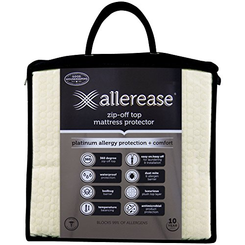 Aller-Ease Platinum Mattress Protector - 360 Degree Zip-Off Top, Temperature Balancing Technology, Plush Protection Against Bedbugs, Dust Mites and Ped Dander, Queen Sized, White by Aller-Ease