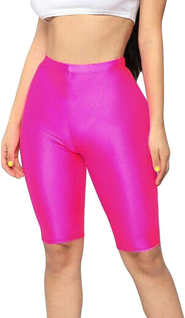 Ropa Pantalones de Calle Fitness Gloss Shorts de Ciclismo Mujer Cortos de Bicicleta de Estiramiento para Mujer Pantalones Cortos de Spandex de hasta la Rodilla