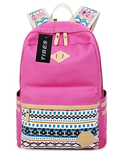 tibes-casual-canvas-school-backpack-for-girls-rose-pink