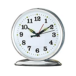 Wind Up Alarm Clock with Luminescent Hands, No Batteries, Mechanical Movement