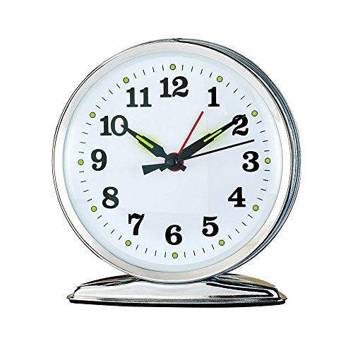 Wind Up Alarm Clock with Luminescent Hands, No Batteries, Mechanical Movement - Bell Key Wind Alarm Clock