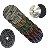 4'' 5'' Diamond DRY Polishing Pad 14 Pieces + 2 Buffer + 2 Aluminum Backer Granite ceramics stone concrete engineered stone polishing counter top polishing floor polishing repair abrasive marble