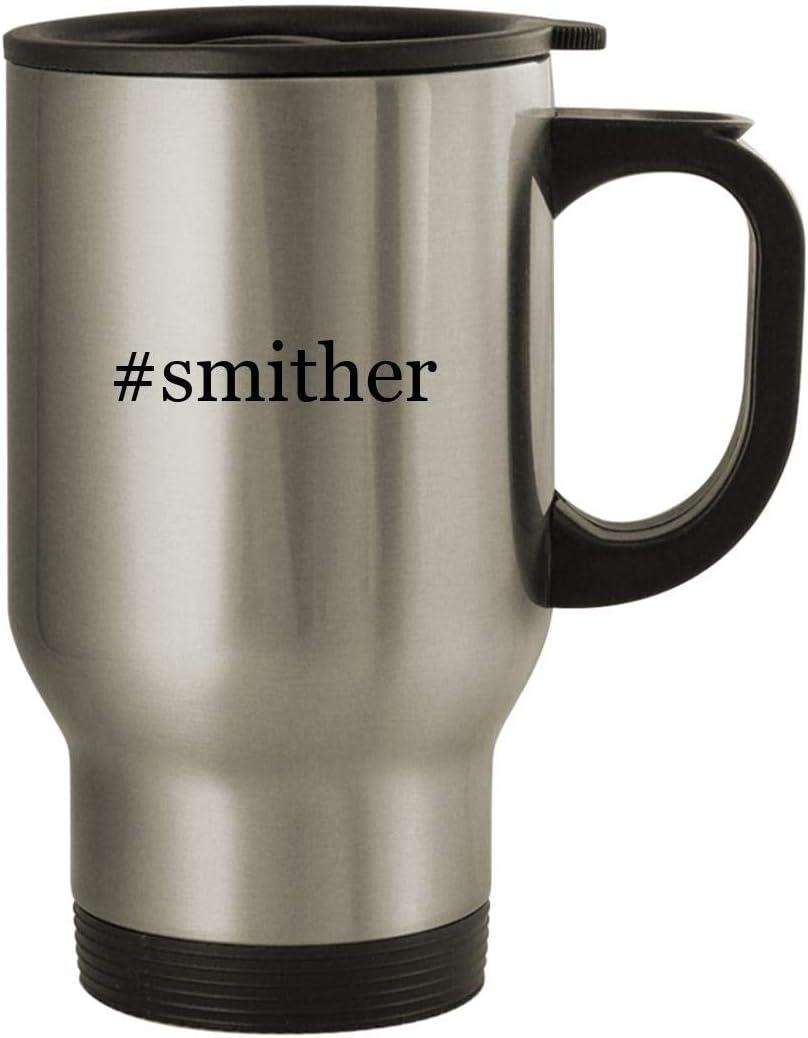 #smither - Stainless Steel Hashtag 14oz Travel Mug, Silver