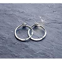 Tiny\x20925\x20Sterling\x20Silver\x20Huggie\x20Hoop\x20Earrings\x20Hammered\x20Endless\x20Sleeper\x20Hoops\x2010MM\x2012MM\x20Continuous\x20Small\x20Textured\x20Earrings\x20Gift\x20Under\x2020