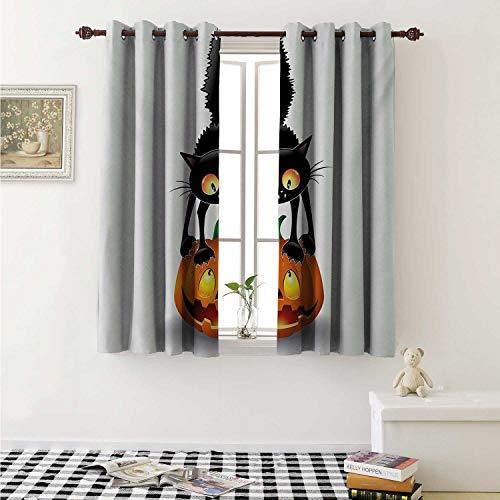 shenglv Halloween Customized Curtains Black Cat on Pumpkin Drawing Spooky Cartoon Characters Halloween Humor Art Curtains for Kitchen Windows W63 x L45 Inch Orange Black]()