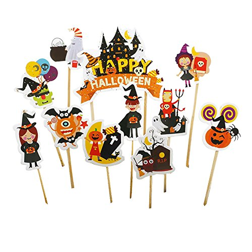 (856store Clearance Sale 11Pcs/Set Halloween Decoration Pumpkin Witch Grave Cake Topper Party)