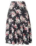 Women's Highwaist Flowing Swing A-Line Skirt Midi Length(S,Black-Flower)