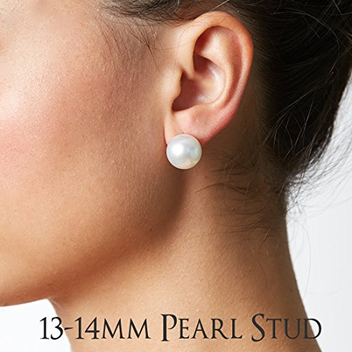 18K White South Sea Cultured Pearl and Diamond Bezel Dangle Earrings, 13.0-14.0mm - AAA Quality, 18K White Gold by Pure Pearls (Image #1)'