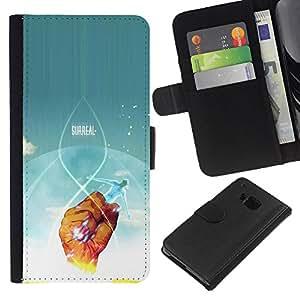 YiPhone /// Tirón de la caja Cartera de cuero con ranuras para tarjetas - Cartel surrealista - HTC One M9