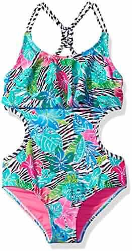 LiMiTeD Too Girls' Tropical Zebra 1pc Swim
