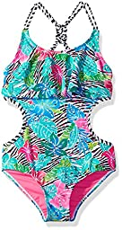 LiMiTeD Too Toddler Girls\' Tropical Zebra 1pc Swim, Pink, 2T