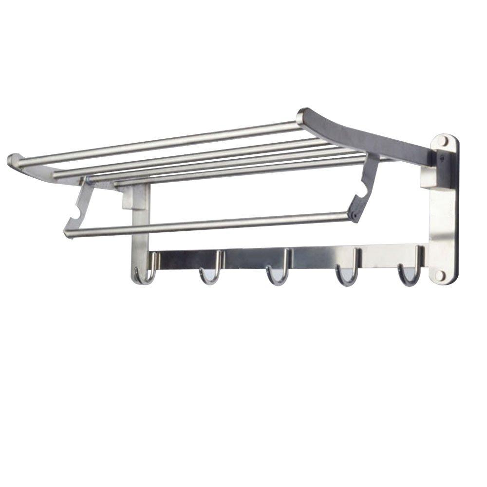 20 Inch Bathroom Towel Shelf, Wall Mounting Rack with Towel Bar, SUS 304 Stainless Steel, Brushed Nickel