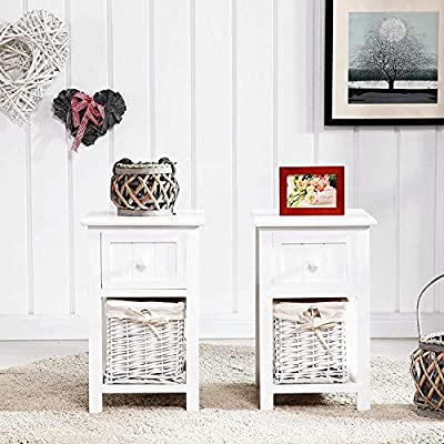 Mecor Small Cute Set of 2 Night Stand,White by mecor