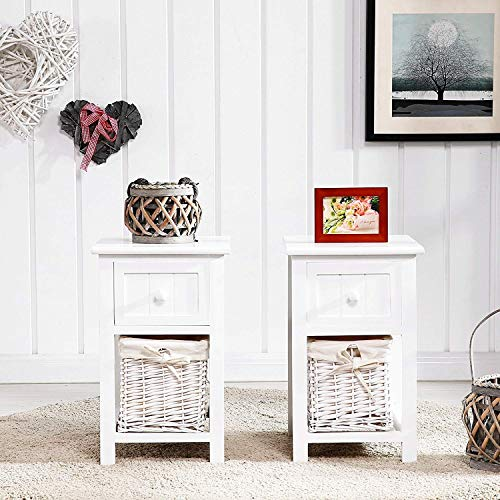 Mecor Set of 2 Nightstand Small&Super Cute - Paulownia Wood - End Tables Bedside Tables - with 1 Drawer and 1 Wicker Basket ()