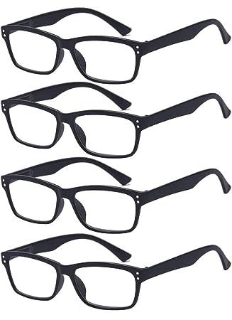 5338c12df94b54 ALWAYSUV 4 Stück Schwarz Federn-Scharnier Lesebrille Klassische Lesehilfen  Sehhilfen Brille 2.0