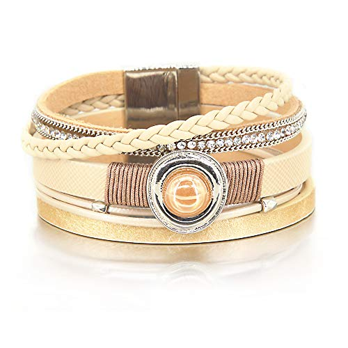 Beige Pearl Bracelet Cross Leather Wrap Boho Bracelet Rhinestone Cuff Bracelet Handmade Bangle Braided Magnetic Clasp Bracelet Multi Strand Beaded Bracelet for Women Girl