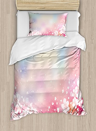 Ambesonne Pastel Duvet Cover Set, Japanese Nature Sakura Tree Cherry Blossoms Romantic Hazy Dreamy Cheerful, Decorative 2 Piece Bedding Set with 1 Pillow Sham, Twin Size, Pink Blue