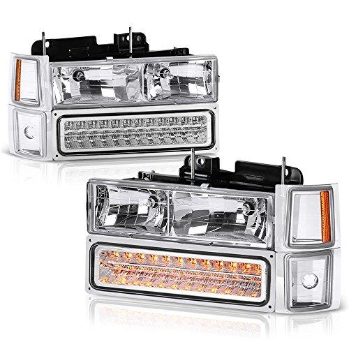 Housing Headlight & LED Parking Turn Signal Lamp Assembly For 1994-1999 Chevy C/K 1500 2500 3500 Pickup Suburban Tahoe, Driver & Passenger Side ()