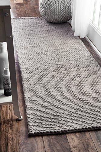 nuLOOM Handwoven Caryatid Solid Wool Runner Rug, 2' 6