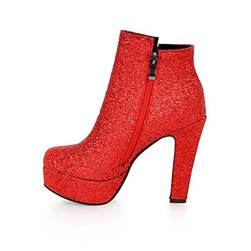 AllhqFashion Mujeres Sintético Tobillo Sólido Cremallera Tacón Alto Botas Rojo