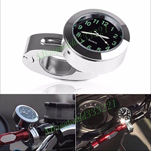 - Motorcycle Silver 7/8'' 1'' Cruiser Handle Bar Mount Clock Watch For Harley Davidson Yamaha Honda Suzuki Kawasaki BMW All Years