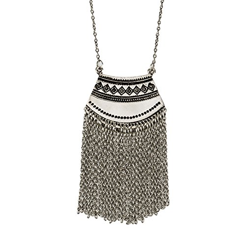 Tribal Back Belly Chain - Long Mystic Fringe Boho Tribal Ethnic Silver Pendant Necklace - SPUNKYsoul Collection