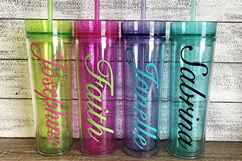 Personalized 16 oz Acrylic Skinny Tumbler with Custom Monogram Vinyl Decal by Avito - Includes Straw and Lid - Bridesmaid, Bachelorette, Bridal Party Gifts