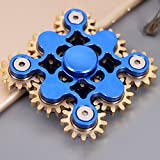 Spinner Fidget 9 Gear Finger Spinner Blue Metal Hand Spinner Toy EDC Focus ADHD Stress Reducer High Speed Ultra Durable Small Bearings Relief Desk Toy for Fidgeting, Kids,Adult,Anxiety,Killing Time