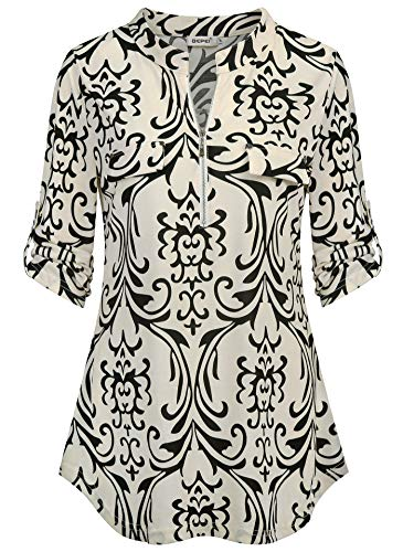 BEPEI Blouses for Women,3/4 Sleeve Classical Metallic Zipper Draped Front Scrub Stretchy Tunic Vintage 1920s Band Collar Generous Romantic Shirts Funny Rockabilly Night Out Tops Beige L