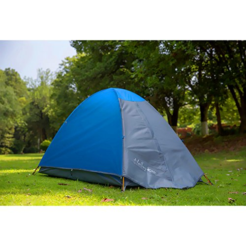 HollyHOME 1-2 Person Backpacking Camping Tent with Carry Bag, Double Layer, 1 Door, 3 Seasons, Lightweight and Water Resistant, Blue