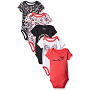 Calvin Klein Baby Girls' Assorted Short Sleeve Bodysuit, Black/Coral, 0-3 Months (Pack Of 5)
